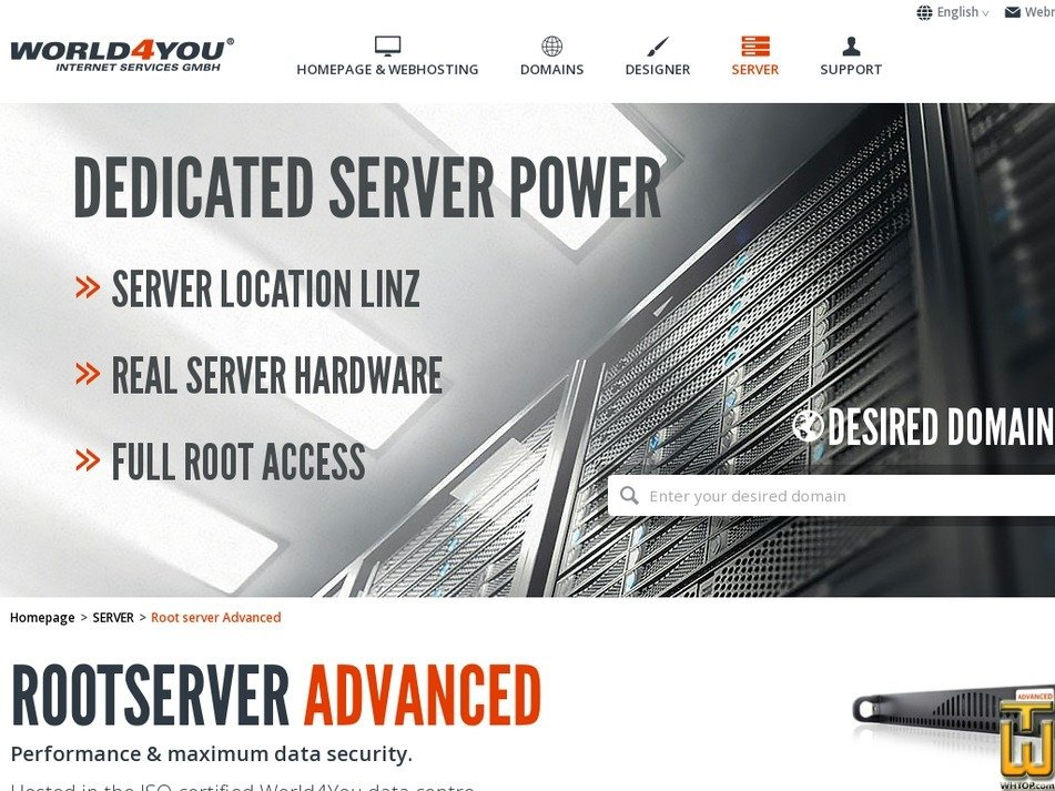 Screenshot of Root server Advanced from world4you.com