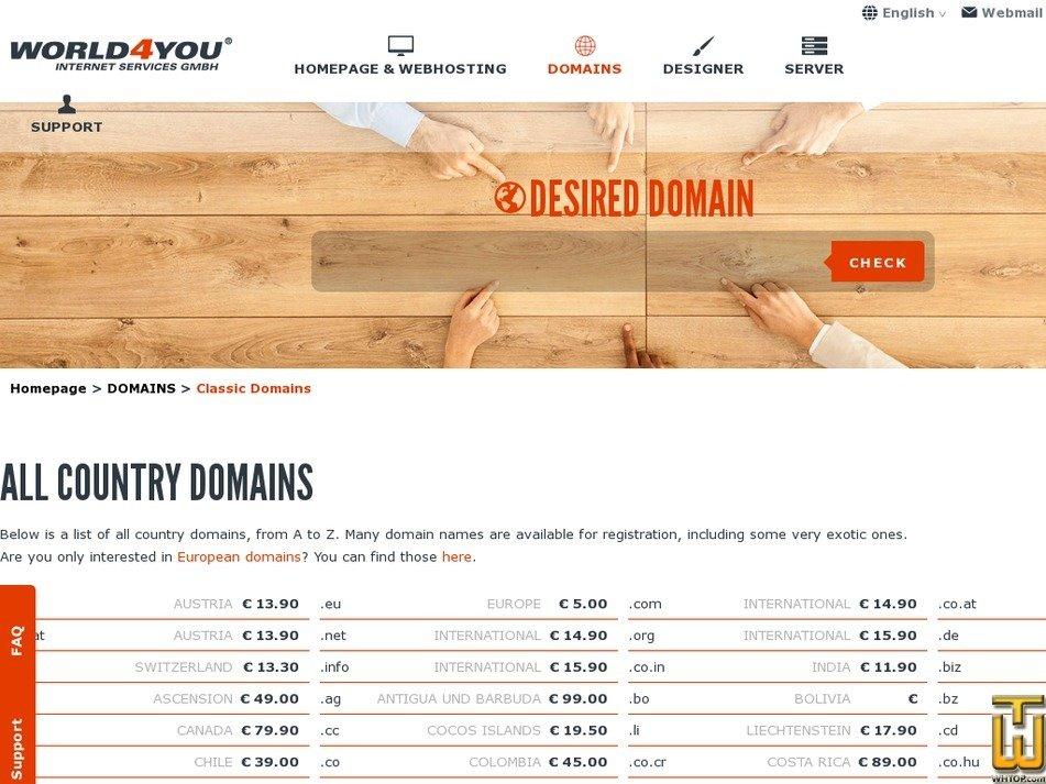 Screenshot of .com from world4you.com