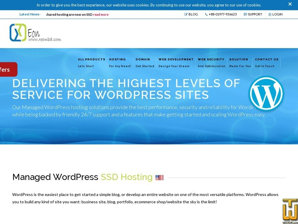 Screenshot of Managed WordPress SSD Hosting Plan 2 from xeonbd.com