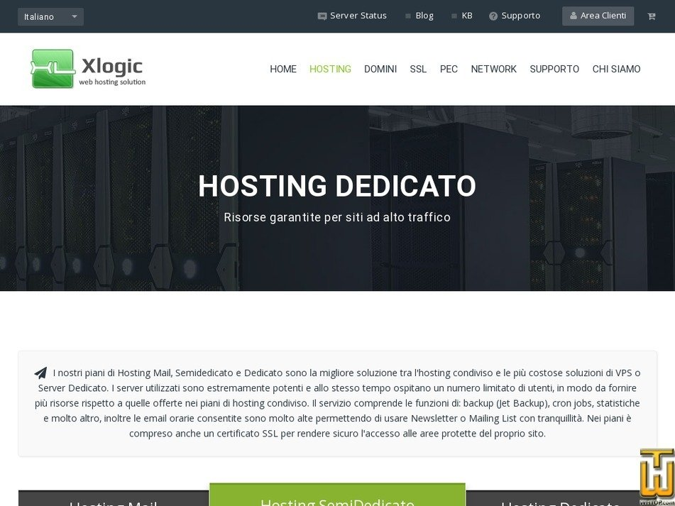Screenshot of Hosting Dedicato - SemiDedicato from xlogic.org