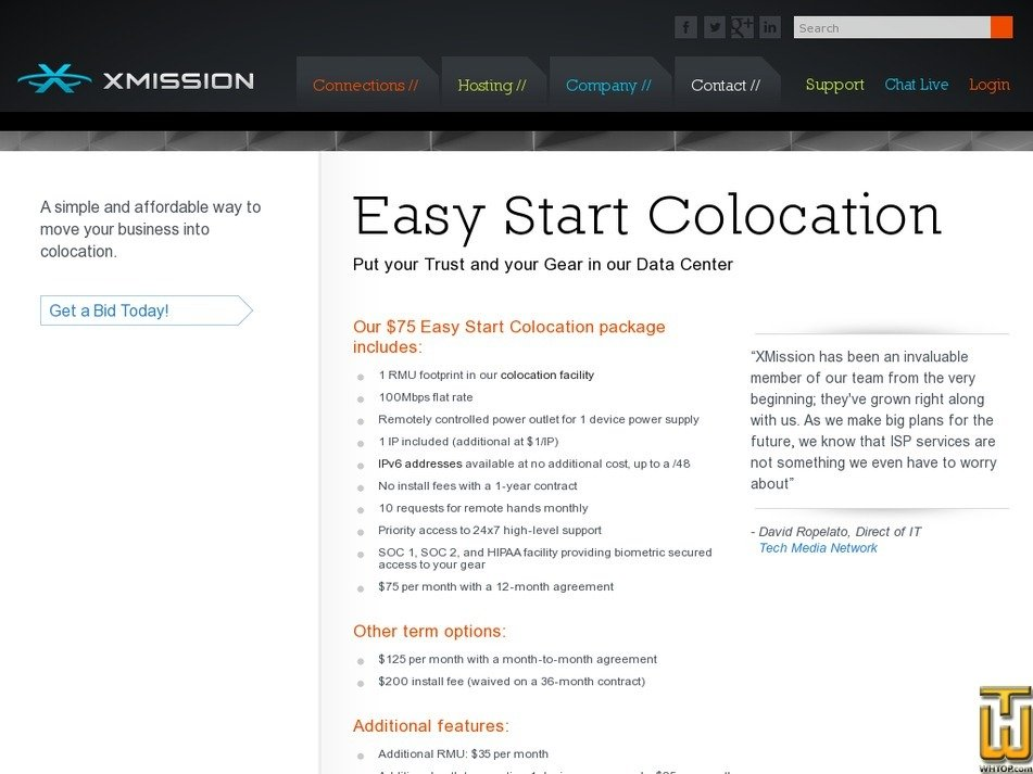 Screenshot of Easy Start from xmission.com