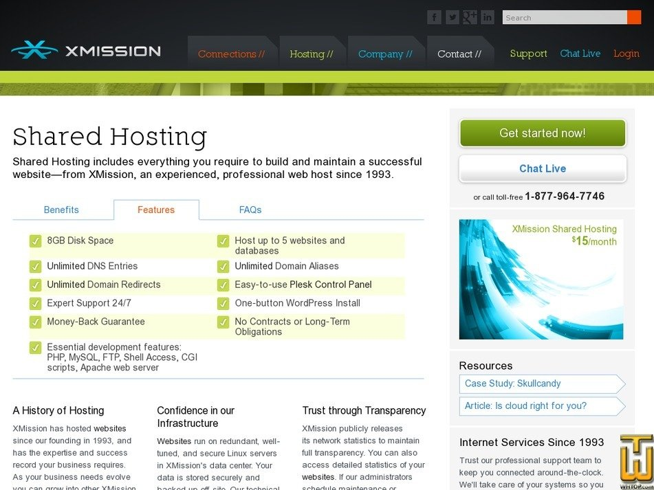 Screenshot of Shared Hosting from xmission.com