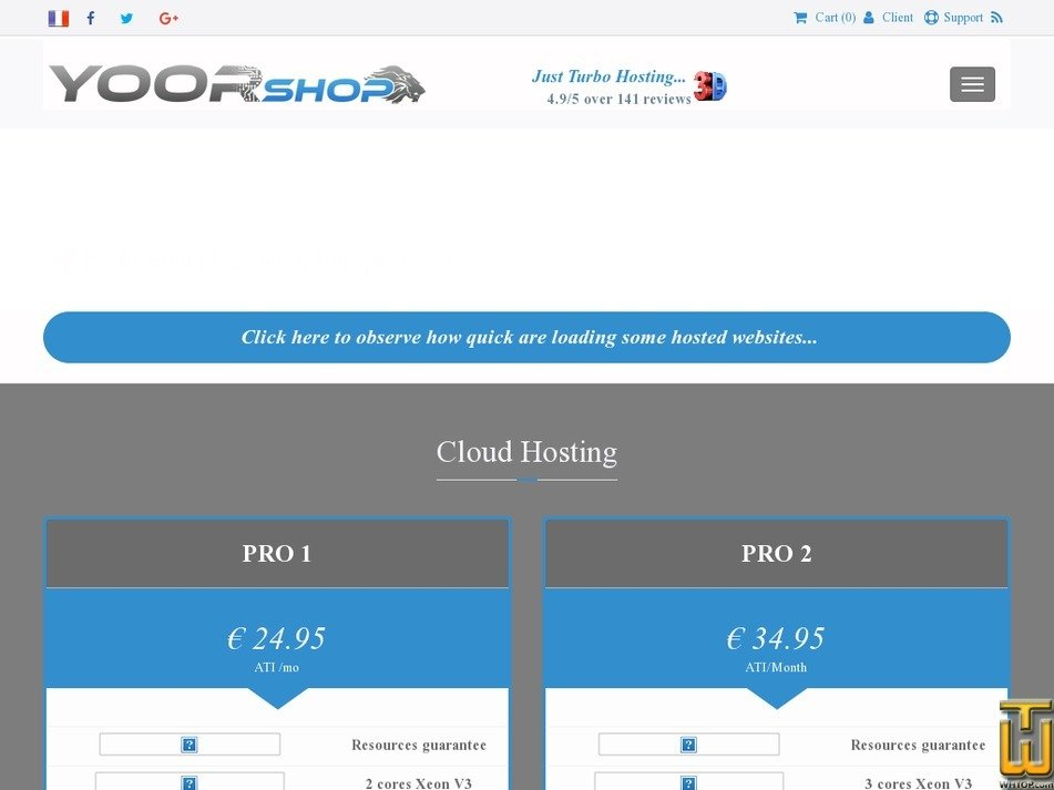 Screenshot of PRO1 SSD 3D - Turbo Professional hosting in Europe, France from yoorshop.fr