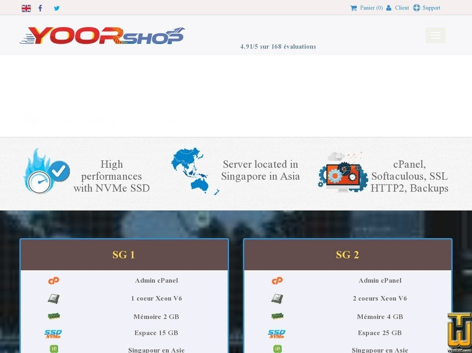 Screenshot of Cloud SSD hosting in Singapore with cPanel - SG5 from yoorshop.fr