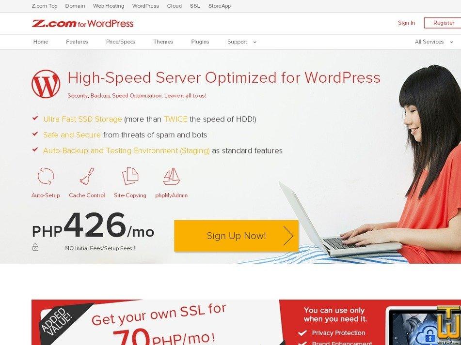Screenshot of Z.com for WordPress from z.com