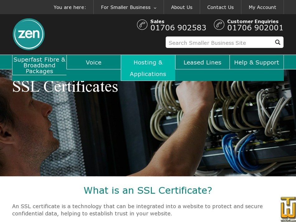 Screenshot of Extended SSL from zen.co.uk