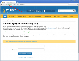 HTTPS connection for login page