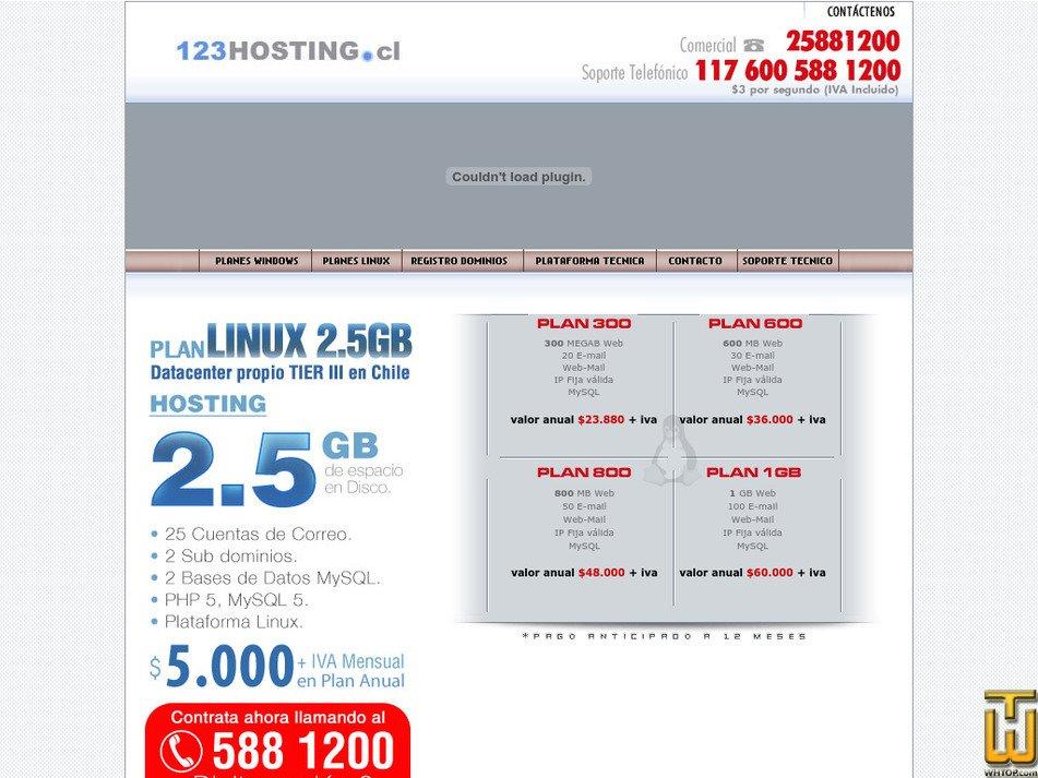 123hosting.cl Screenshot