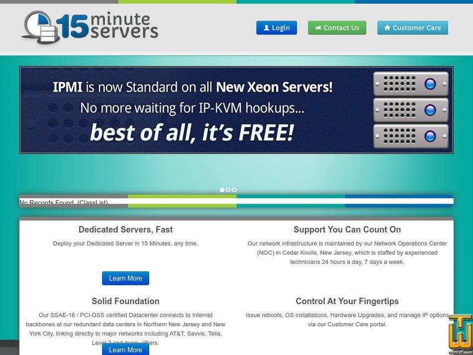 15minuteservers.com Screenshot