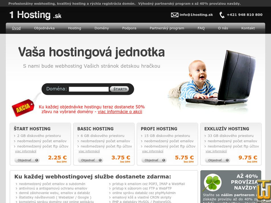 1hosting.sk Screenshot