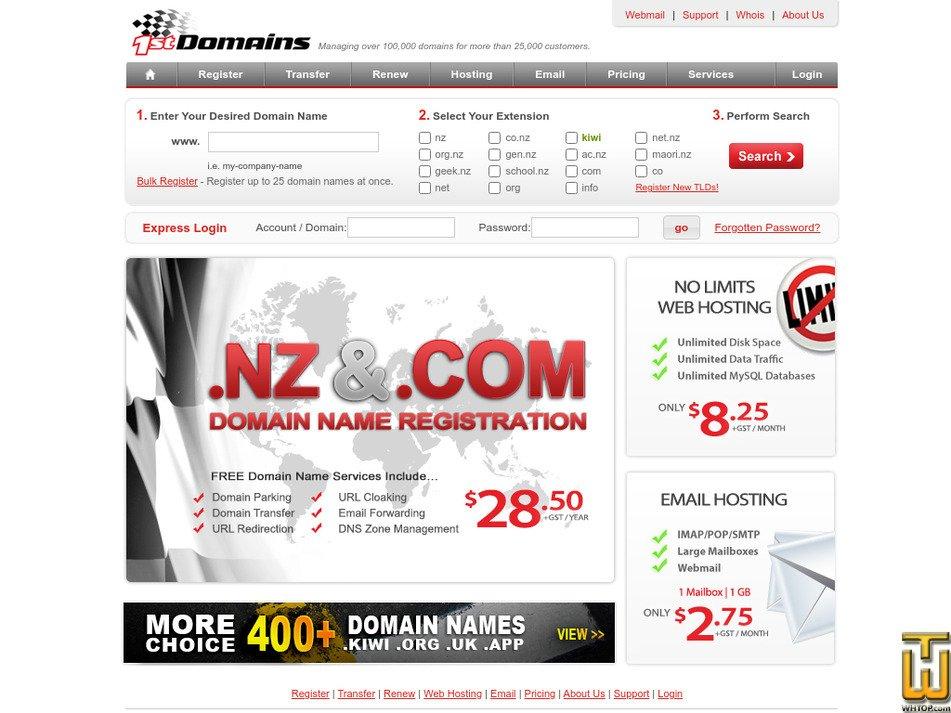 1stdomains.nz screenshot
