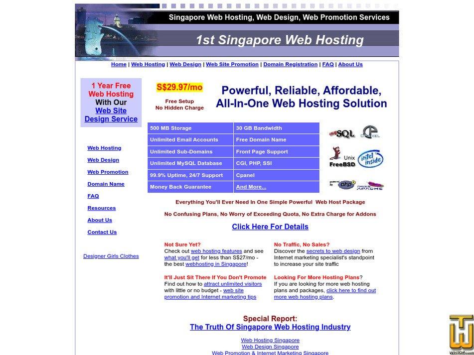 1stsingaporewebhosting.com Screenshot
