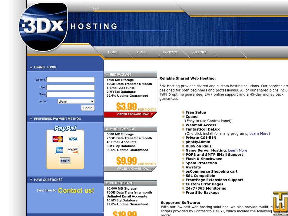 3dxhosting.com Screenshot