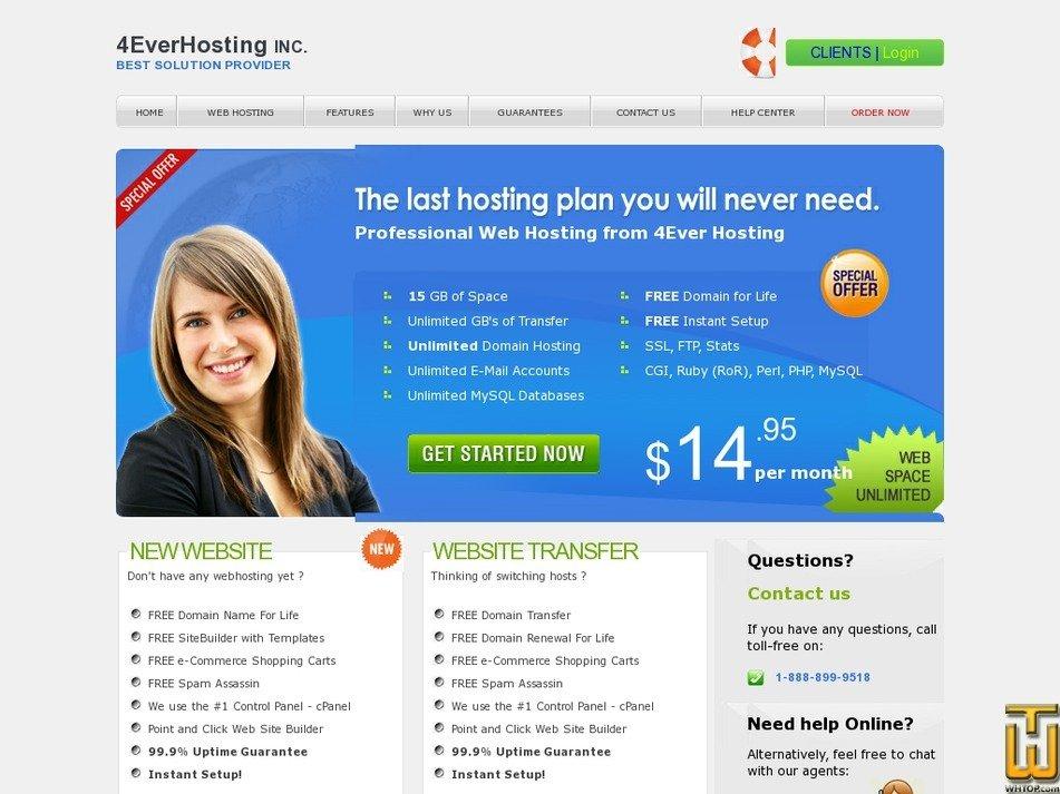 4everhosting.com Screenshot