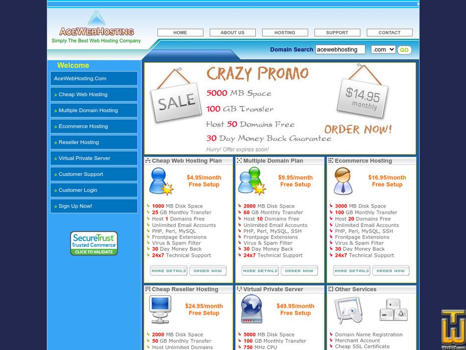 acewebhosting.com Screenshot
