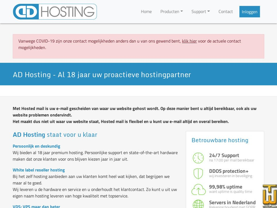 adhosting.nl Screenshot