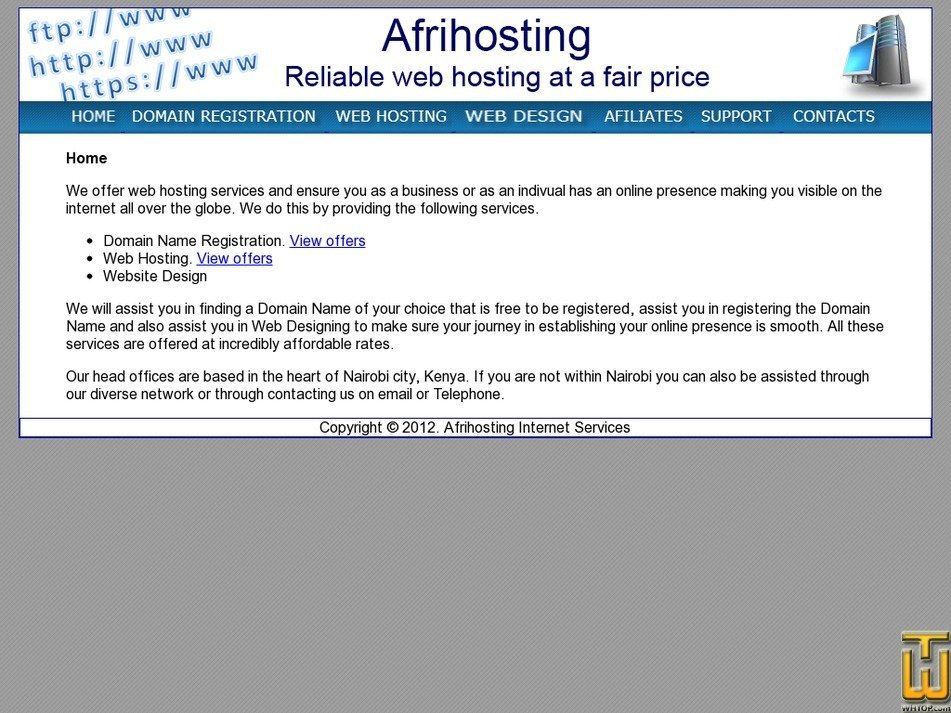 afrihosting.com Screenshot