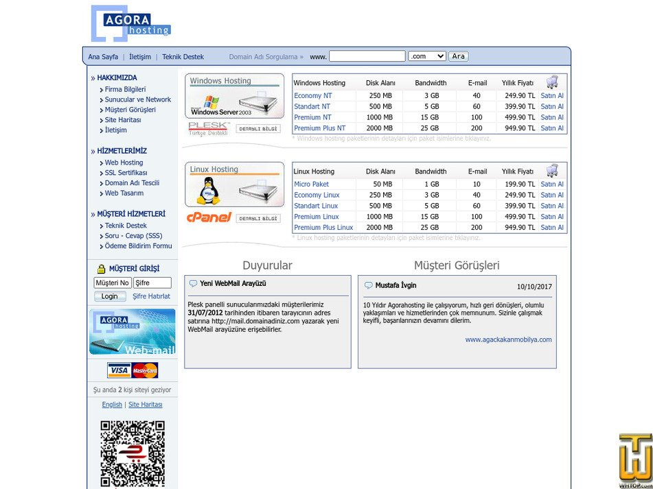 agorahosting.net Screenshot