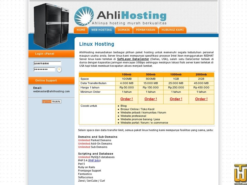 ahlihosting.com Screenshot