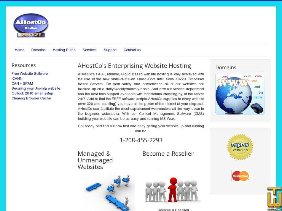 ahostco.com Screenshot