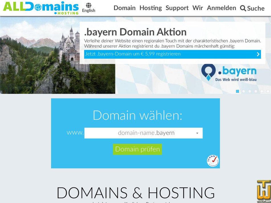 alldomains.hosting screenshot