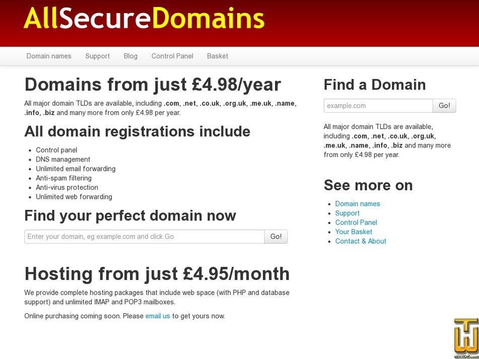 allsecuredomains.com Screenshot
