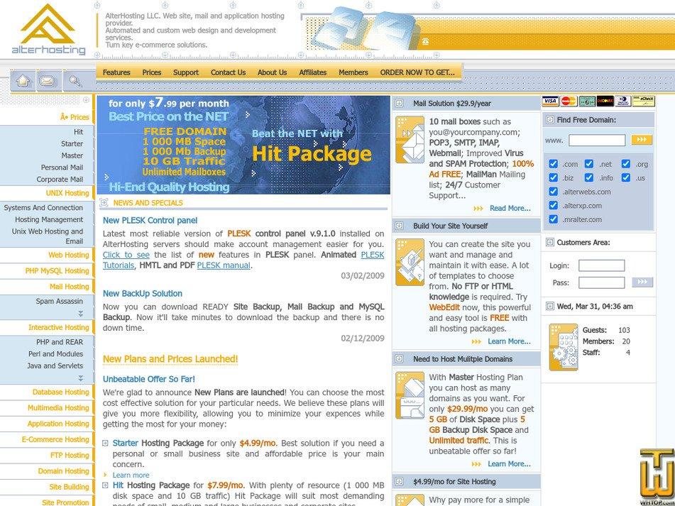 alterhosting.com Screenshot