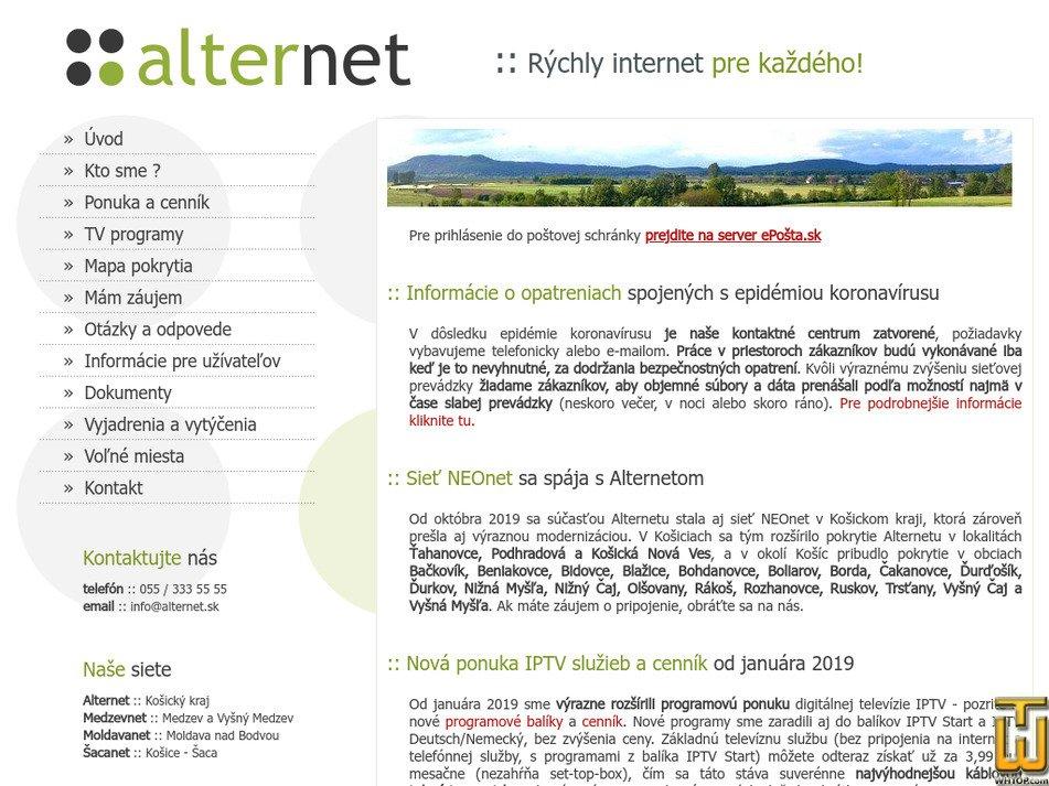 alternet.sk Screenshot