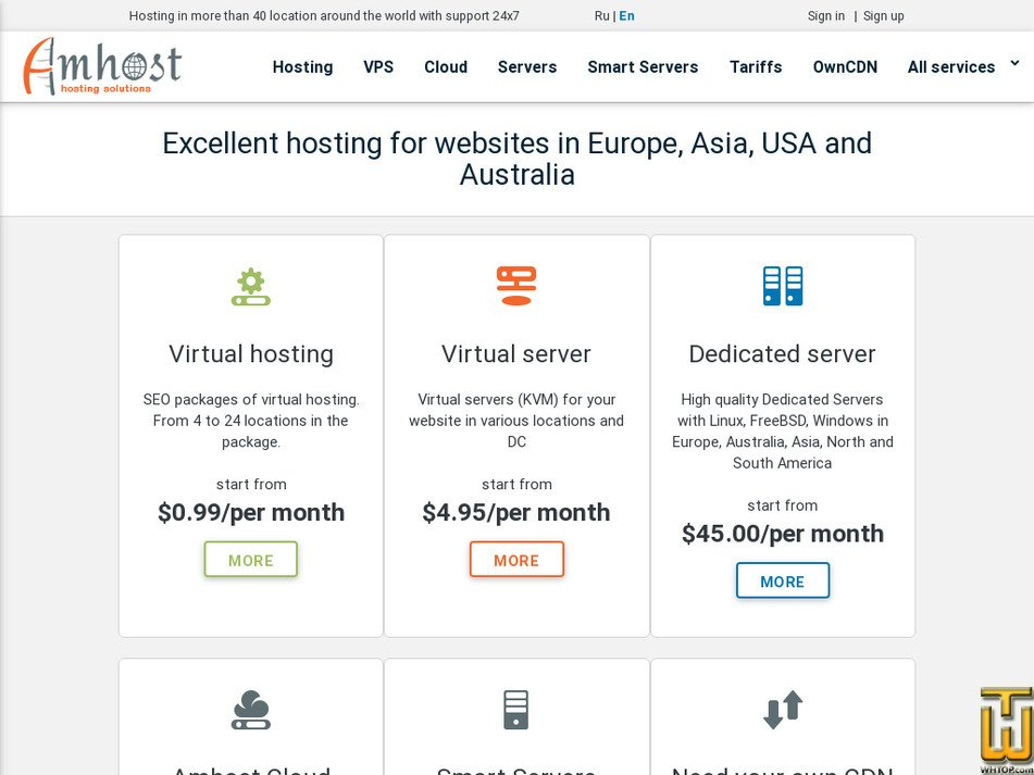 amhost.net Screenshot