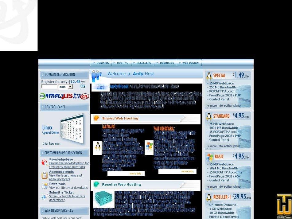 anfyhost.com Screenshot
