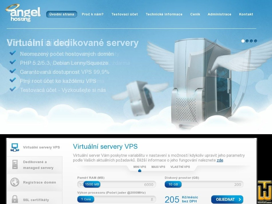 angel-hosting.cz Screenshot