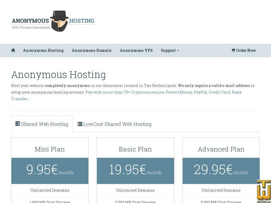 anonymoushosting.in Screenshot