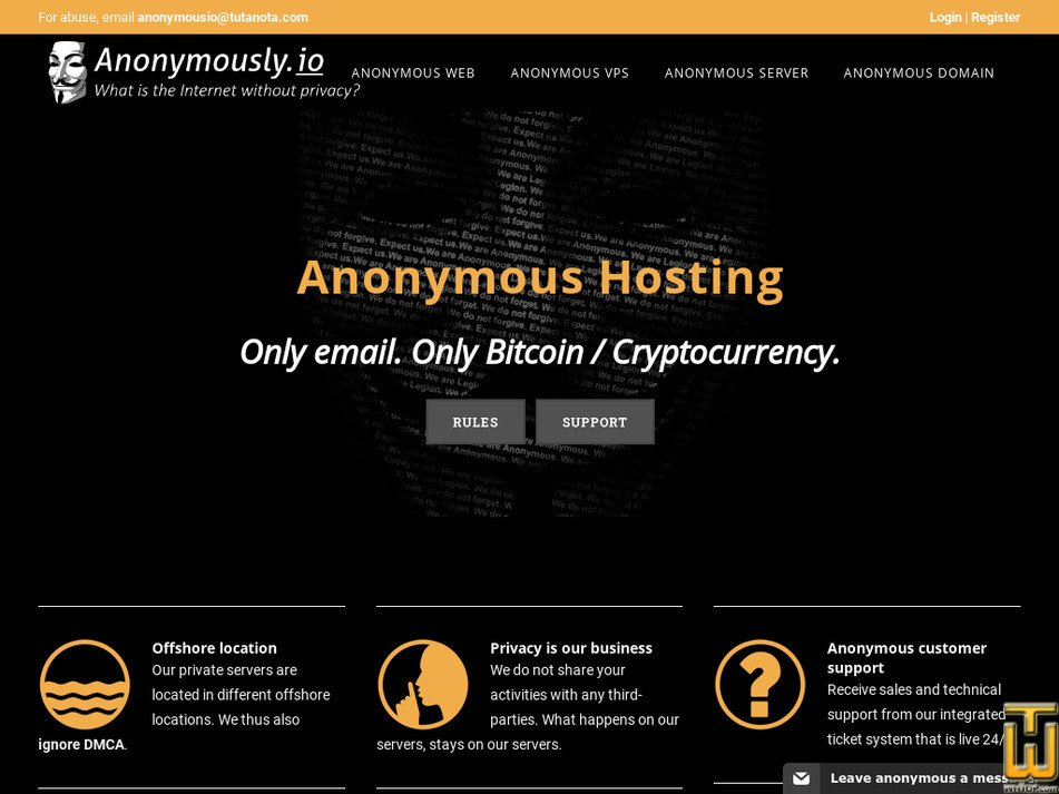 anonymously.io Screenshot