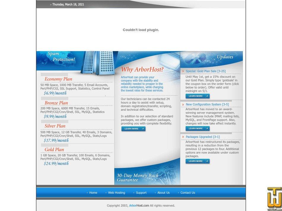 arborhost.com Screenshot