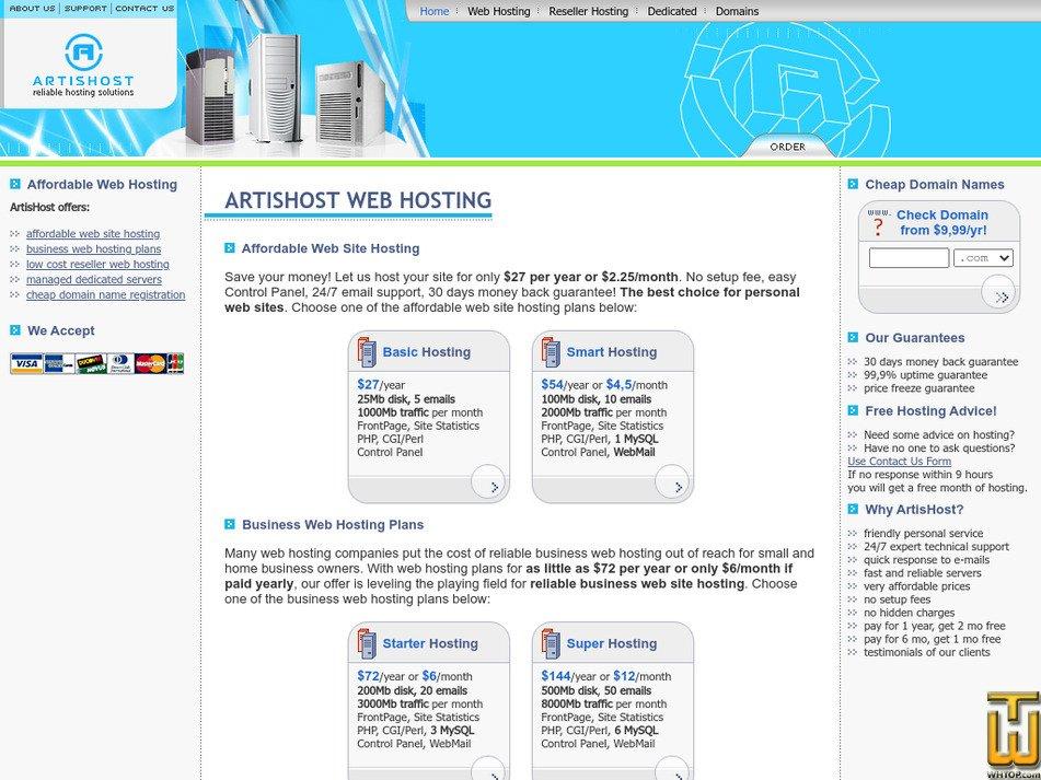 artishost.com Screenshot