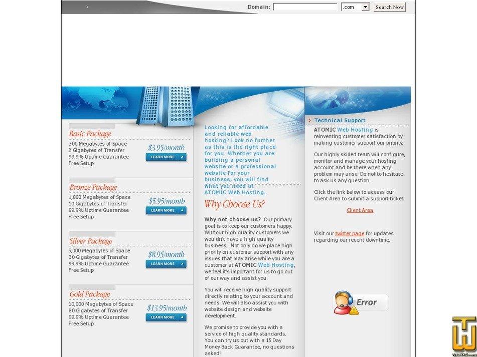 atomicwebhosting.com Screenshot