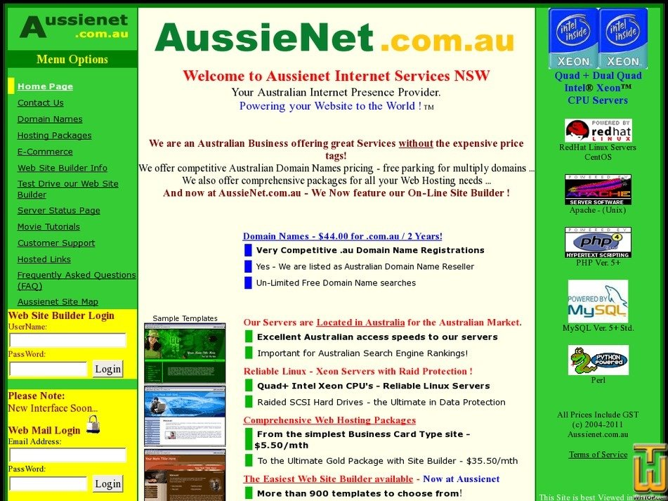 aussienet.com.au Screenshot