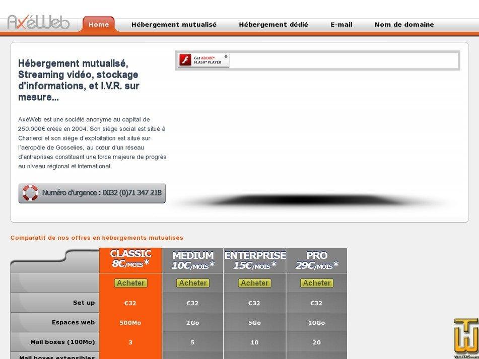 axeweb.be Screenshot