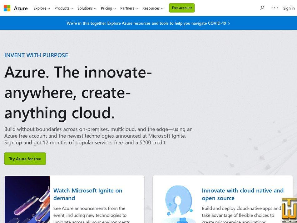 azure.microsoft.com Screenshot