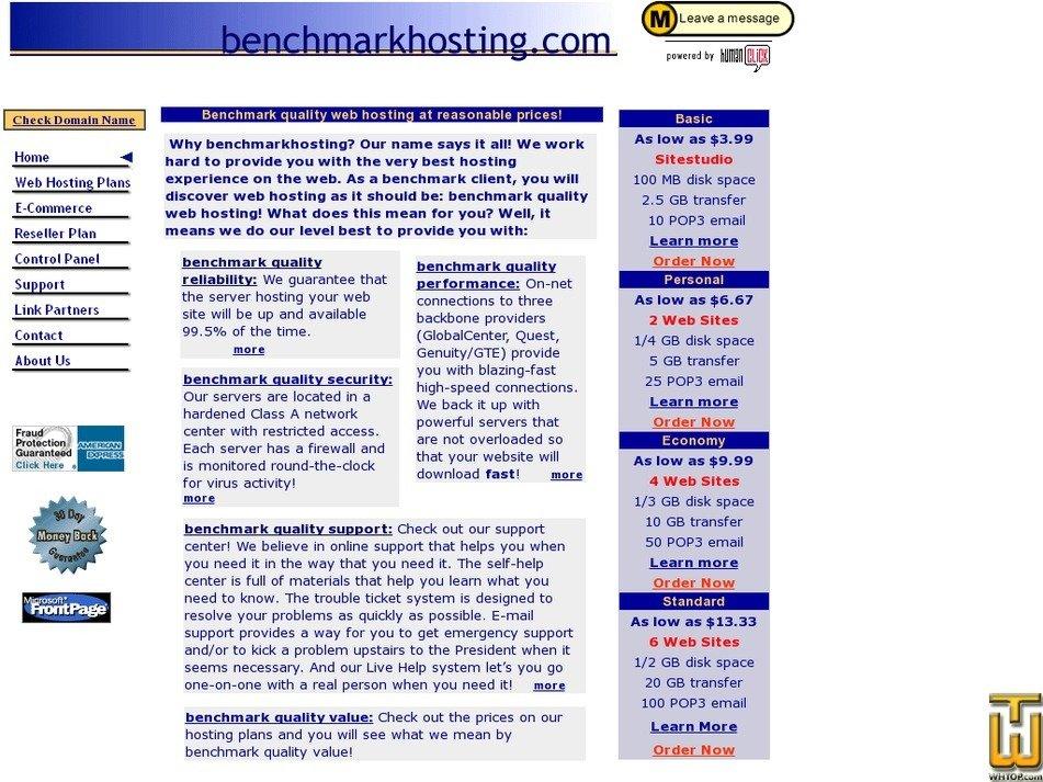 benchmarkhosting.com Screenshot