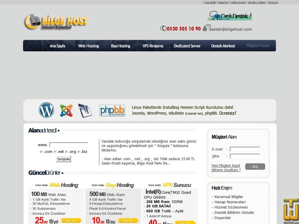bilgehost.com Screenshot
