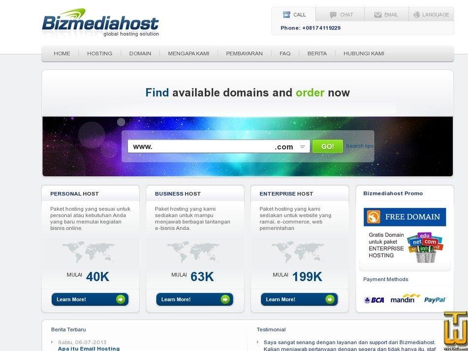 bizmediahost.com Screenshot
