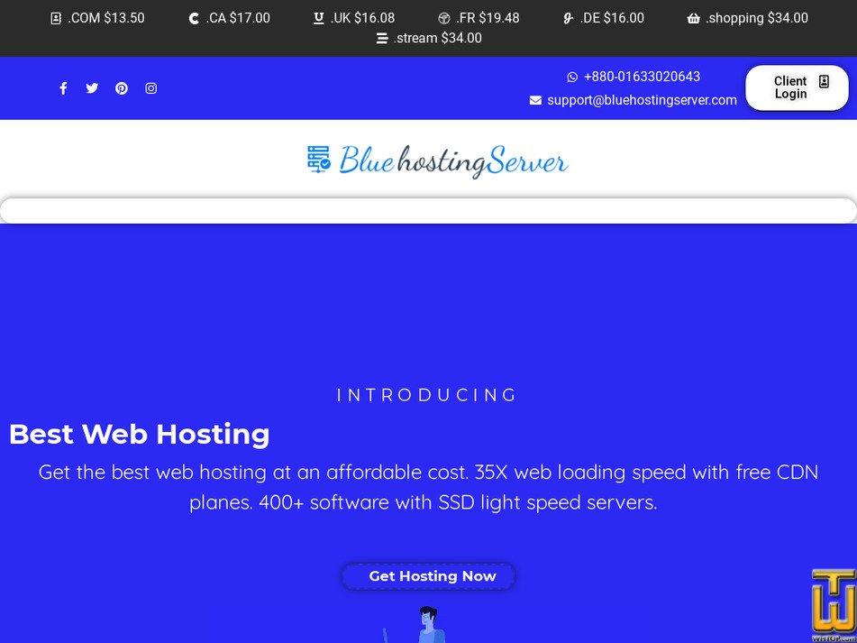 bluehostingserver.com screenshot
