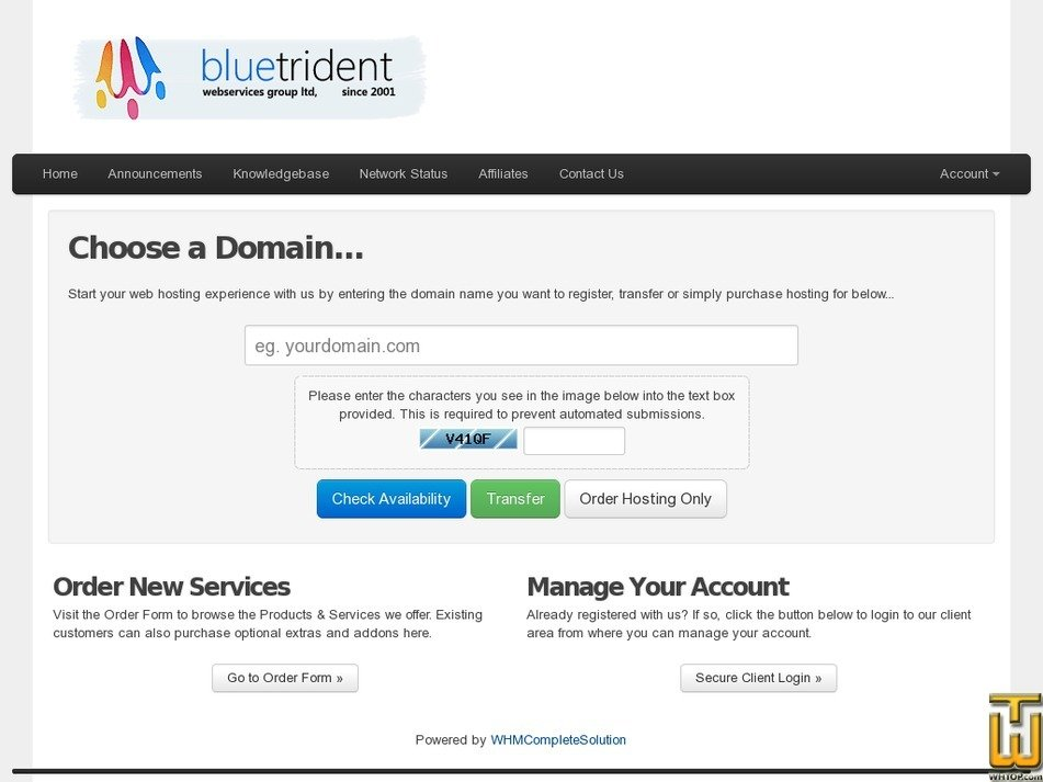 bluetrident.net Screenshot