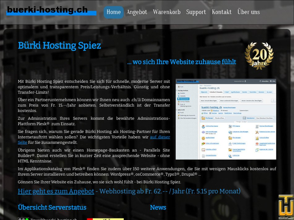 buerki-hosting.ch Screenshot
