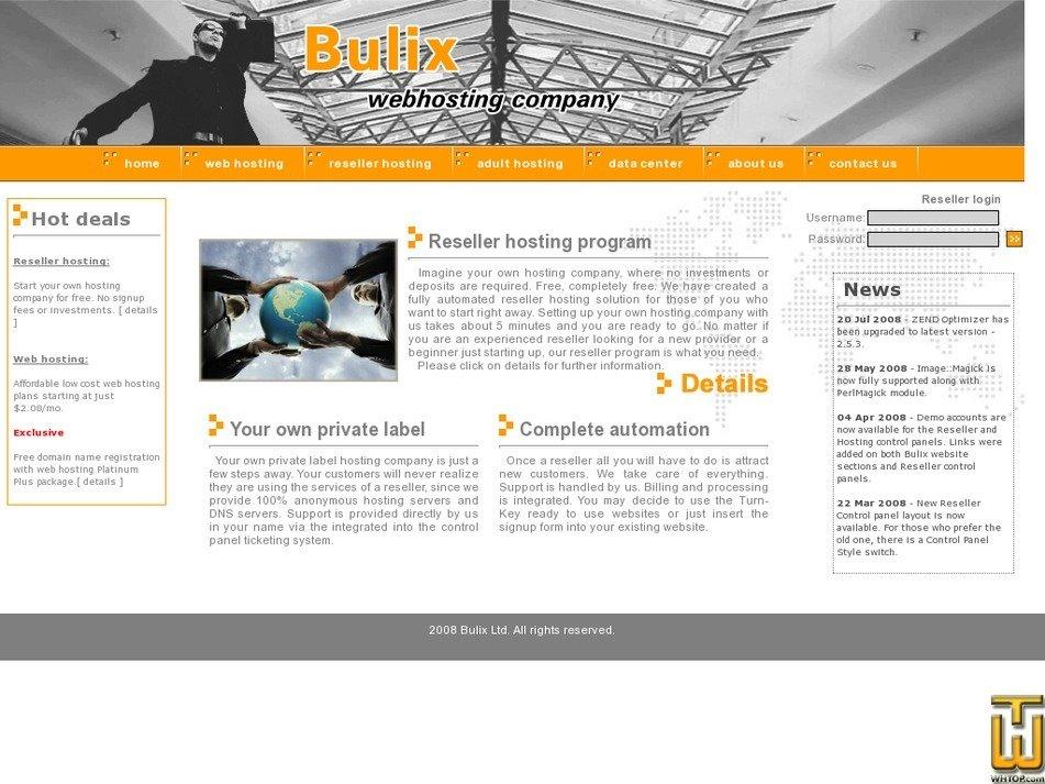 bulixhost.com Screenshot