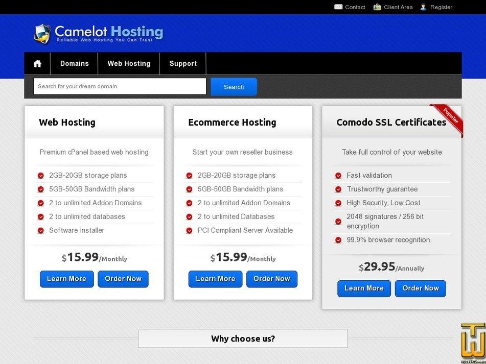 camelot-hosting.com Screenshot