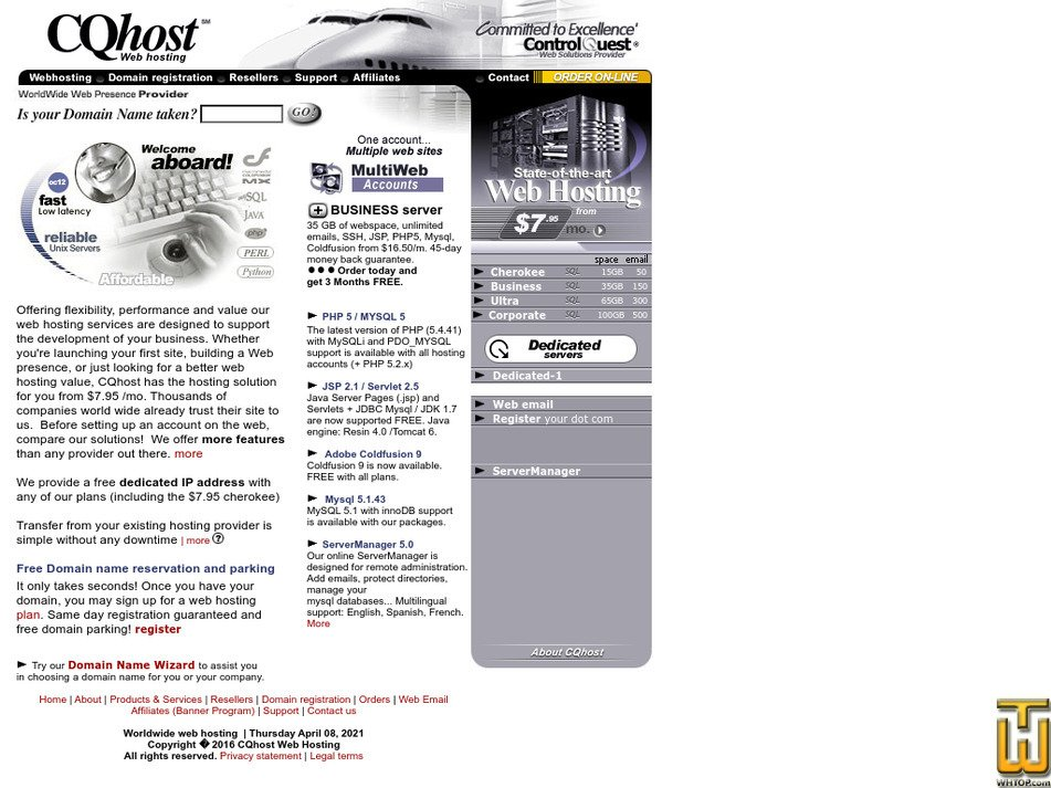 cqhost.com Screenshot