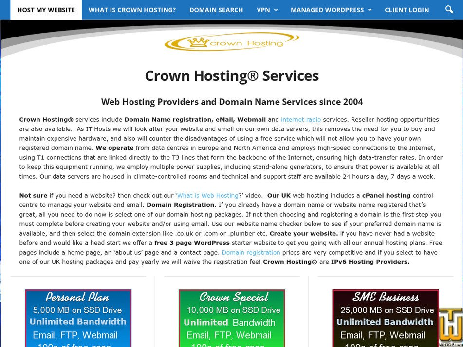 crownhosting.co.uk Screenshot