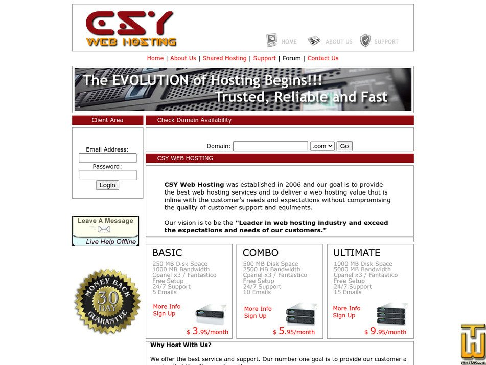 csywebhosting.com Screenshot